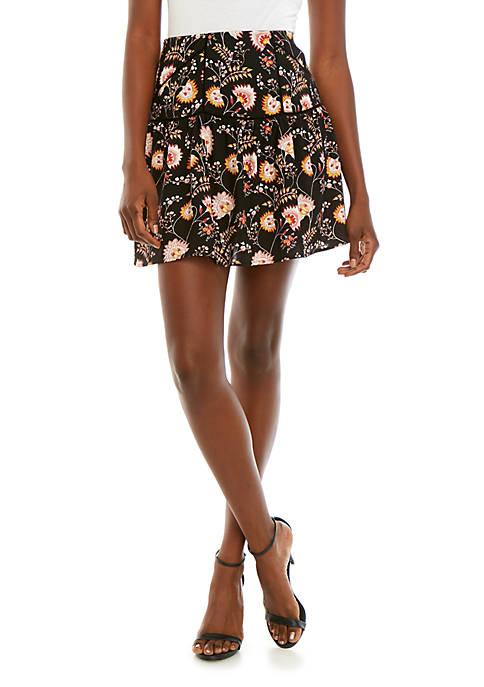 1. State Flounce Hem Garden Print Skirt