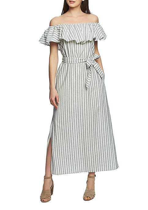 1. State Off the Shoulder Stripe Maxi Dress