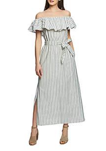 1. State Off the Shoulder Stripe Maxi Dress