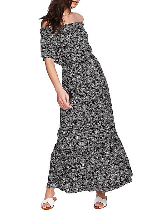 1. State Off Shoulder Cinch Waist Maxi Dress