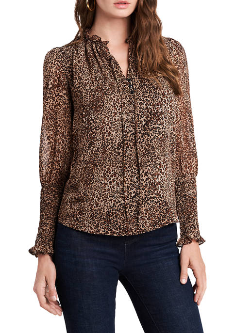 1. State Womens Long Sleeve Leopard Blouse