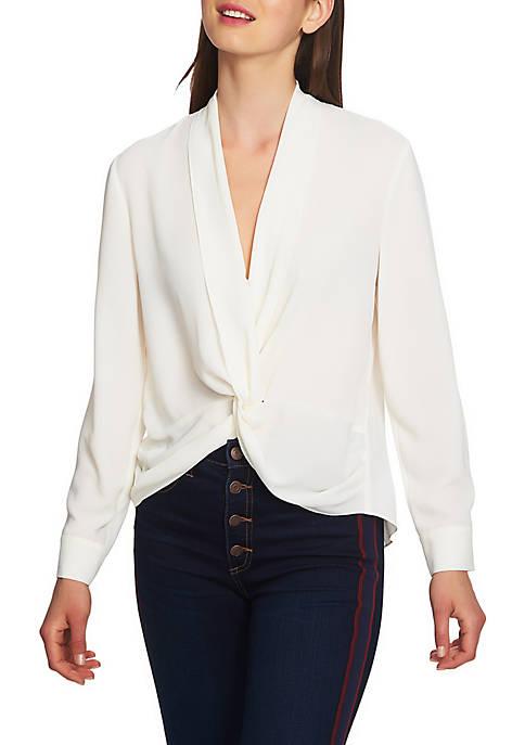 Long Sleeve Twist Front Blouse