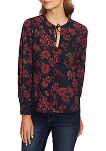 Long Sleeve Tie Neck Floral Blouse