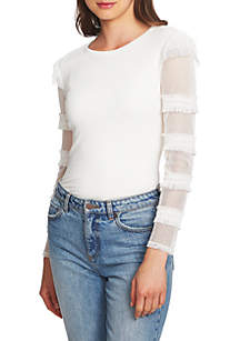 Ruffle Sleeve Rib Knit Top