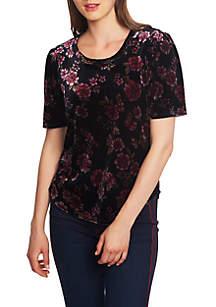 Floral Print Short Sleeve Velvet Tee