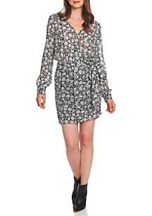 V-Neck Floral Mini Dress