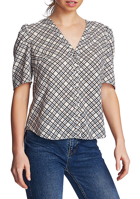 1. State Short Sleeve Diagonal Plaid Button Front