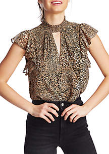 1. State Leopard Keyhole Neck Top