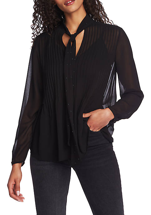 Long Sleeve Tie Neck Pintuck Blouse