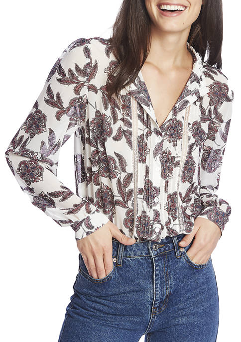 1. State Womens Paisley Long Sleeve Button Down