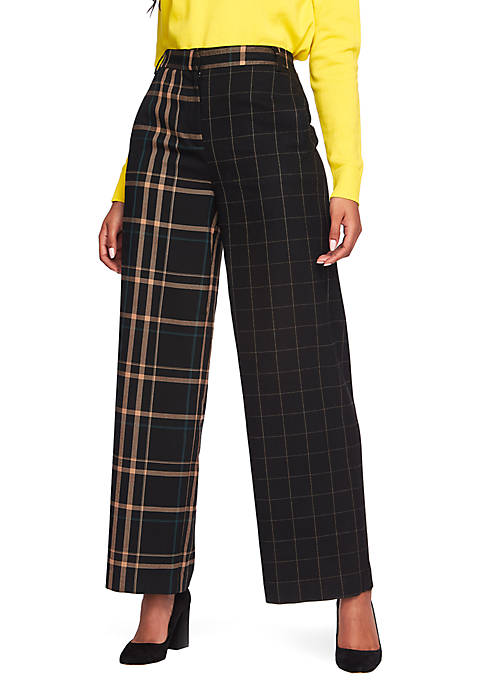 1. State Multi Plaid Wide Leg Trousers