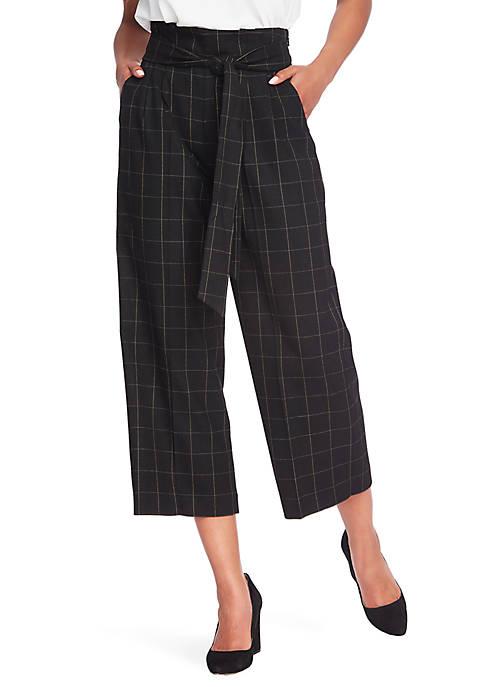 1. State Tie Waist Wide Leg Plaid Culottes
