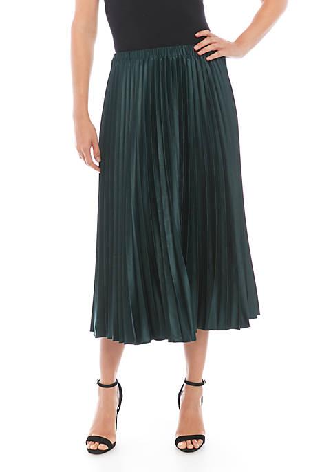 Matte Satin Pleat Midi Skirt