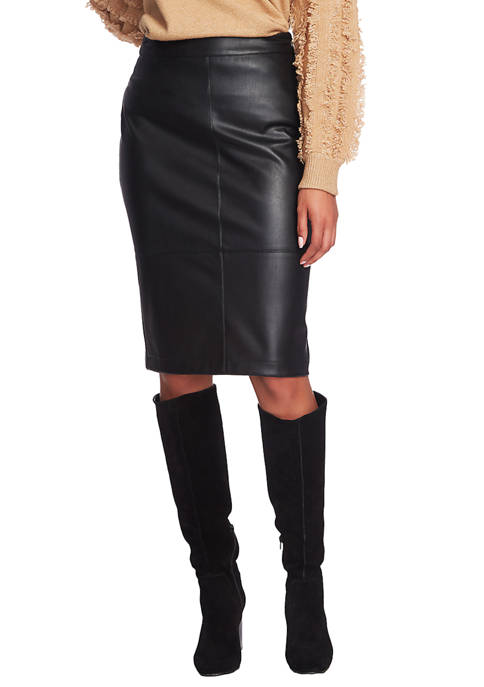 1. State Womens Seamed Midi Faux Leather Pencil