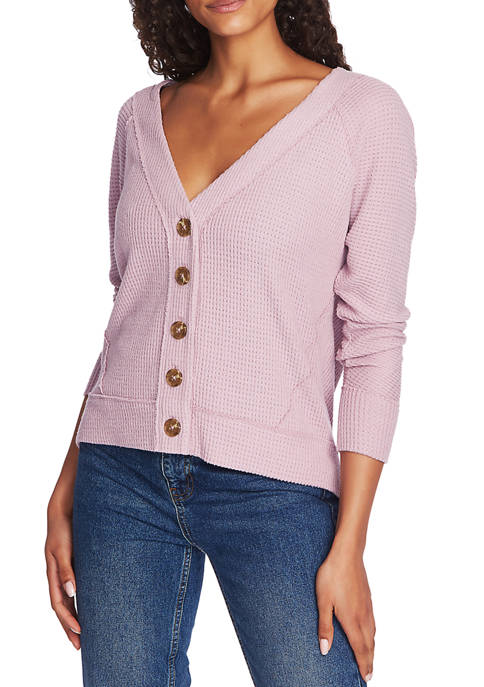 Womens Long Sleeve Button Front Cozy Cardigan