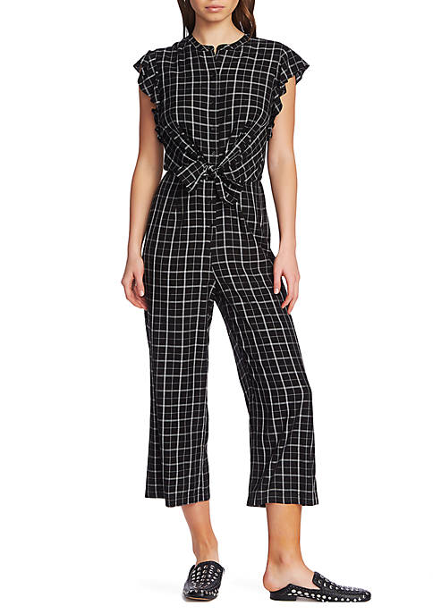 1. State Flutter Sleeve Check Jumpsuit