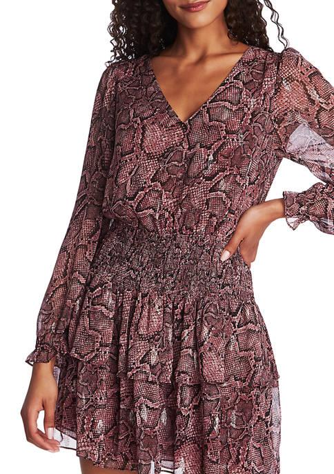 Long Sleeve Smocked Waist Rattlesnake Print Dress
