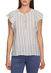 Short Sleeve Button Front Stripe Top