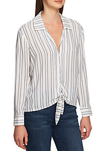 Long Sleeve Tie Front Striped Blouse