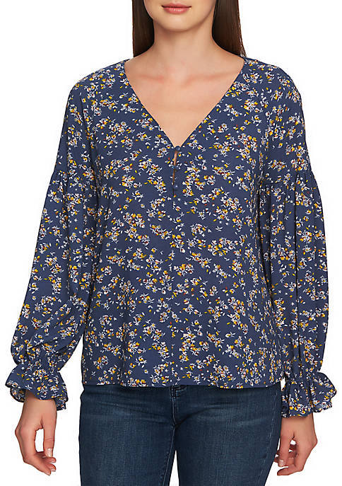 1. State Long Sleeve 3 Button Bouquet Print