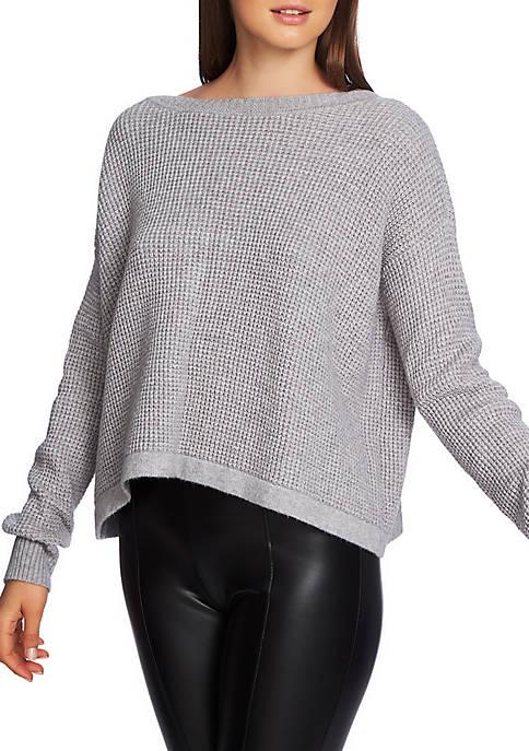 Waffle Lace-Up Sweater