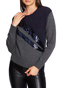 Crew Neck Sequin Sweater