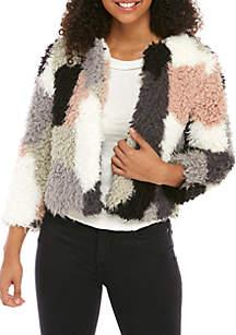 Multi Patchwork Curly Crop Jacket