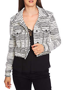 Fringed Tweed Cropped Jacket