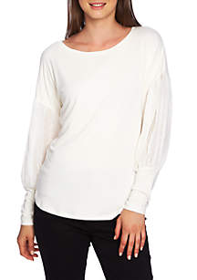 Long Embroidered Sleeve Swing Tee
