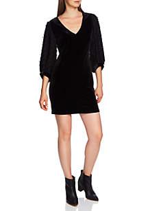 Fringe Sleeve Velvet Dress