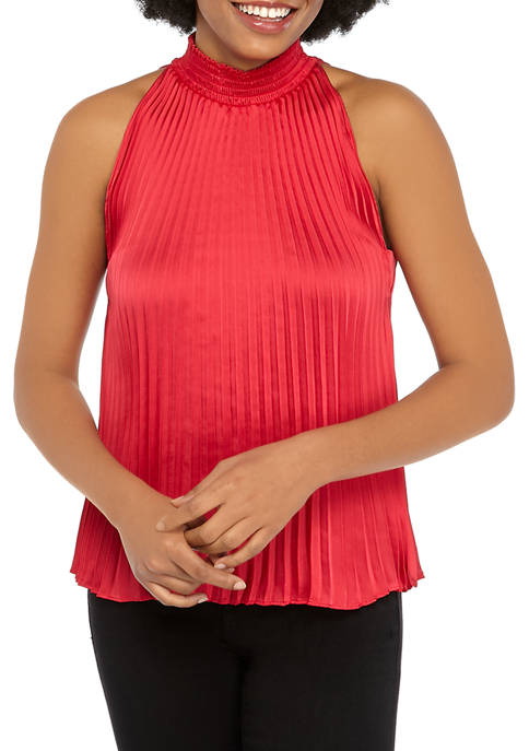 1. State Womens Mock Neck Pleated Woven Tank