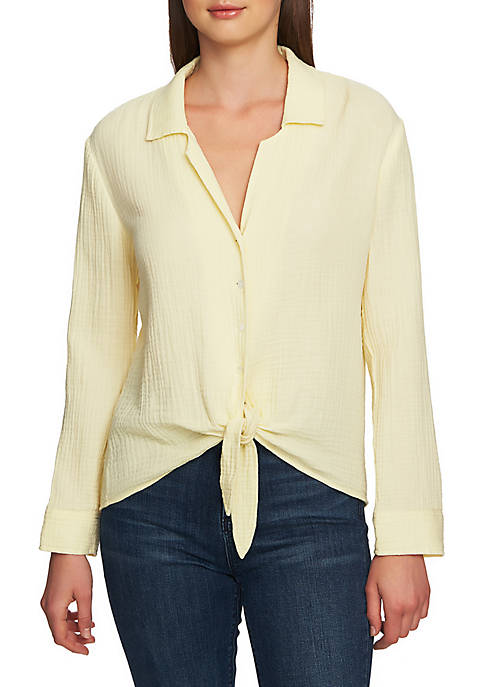 1. State Long Sleeve Tie Front Gauze Top