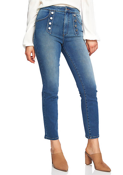 1. State Button Front Skinny Jeans