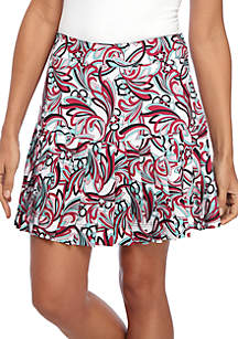 Pleated Printed Skort