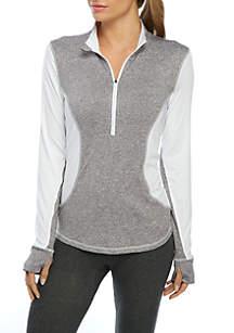 Plus Size Colorblock Half Zip Pullover