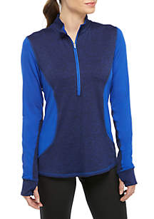 ZELOS Plus Size Colorblock Half Zip Pullover