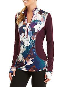 Floral Print 1/2 Zip Jacket