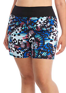 Plus Size Allover Butterfly Running Shorts
