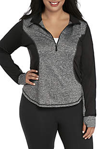 Plus Size Long Sleeve Half Zip Pullover