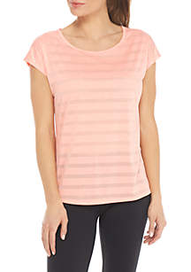 Short Sleeve Stripe Burnout Tee
