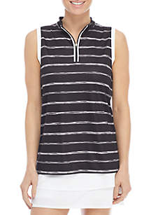 Sleeveless Zip Polo Tank