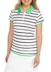 Short Sleeve Shirttail Stripe Polo