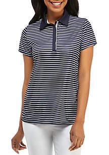 Crown & Ivy™ Golf Short Sleeve Hidden Placket Golf Shirt