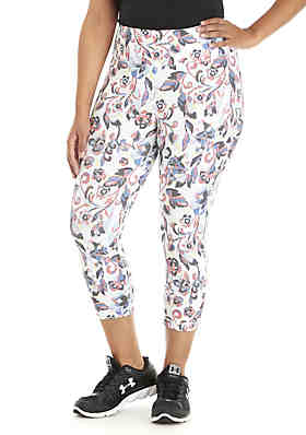 19d70386a48 Plus Size Print Performance Capri Pants ...