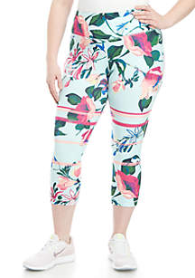 ZELOS Plus Size Printed Perfect Capris