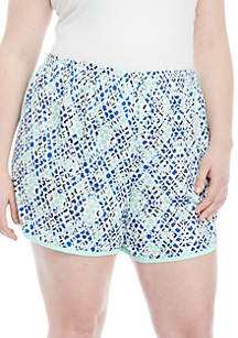 ZELOS Plus Size Printed Shorts