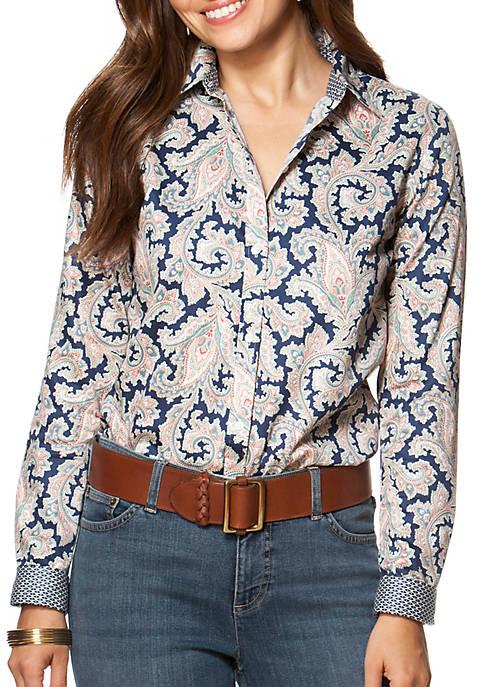 82b331e8ba1 Chaps Non-Iron Paisley Sateen Shirt