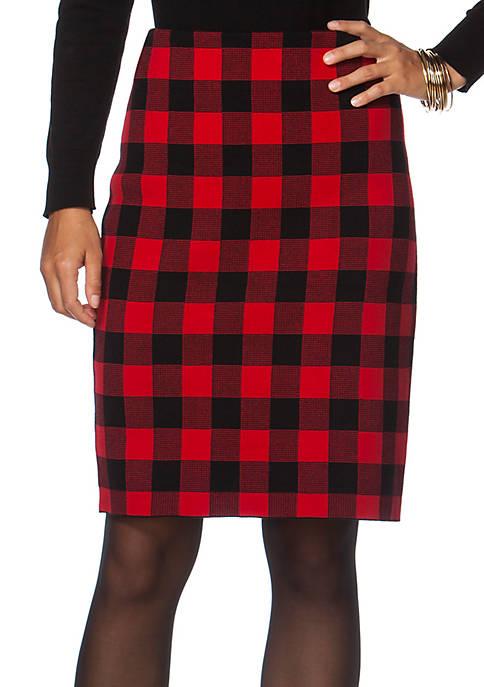 2c5513427e1 Chaps Buffalo Check Pencil Skirt