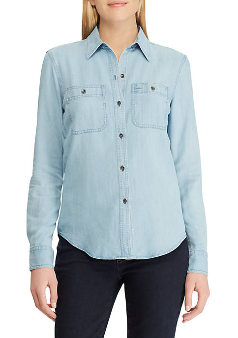 Chaps Denim Button Down Shirt