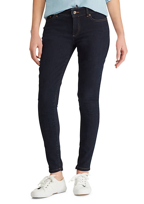 Chaps Four Way-Stretch Denim Straight Pants
